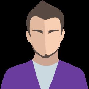 Figur man lila tröja mörkt hår skägg